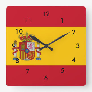 Spain Flag Square Wall Clock
