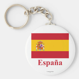 Spain Flag with Name in Spanish Keychains