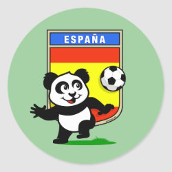 Round Sticker with Spanish Football Panda design