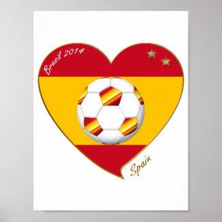 """""""SPAIN"""" FOOTBALL Spanish Soccer Team FÚTBOL ESPAÑA Póster"""