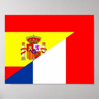 spain france neighbor countries half flag symbol s poster