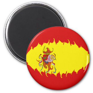 Spain Gnarly Flag 2 Inch Round Magnet