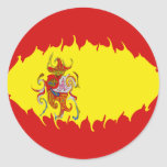Spain Gnarly Flag Classic Round Sticker