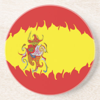 Spain Gnarly Flag Drink Coasters