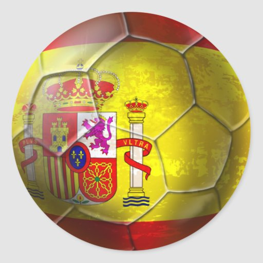 Spain Grunge ball Spanish flag panel gifts Classic Round Sticker