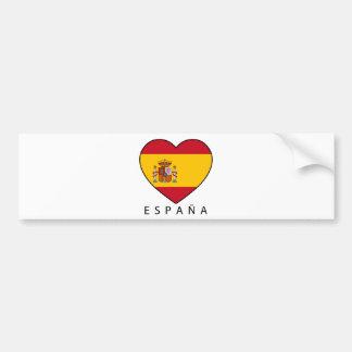 Spain Heart with black ESPANA Pegatina De Parachoque