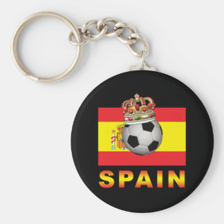 Spain King Of Football Basic Round Button Keychain
