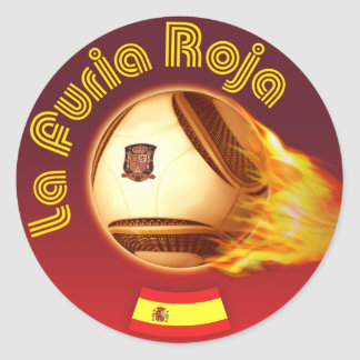 Spain La Furia Roja 2 Classic Round Sticker