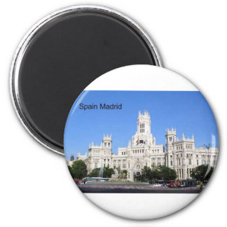 Spain, Madrid City Hall Plaza de Cibeles (St.K) 2 Inch Round Magnet