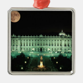 Spain, Madrid, Royal Palace and Plaza de Square Metal Christmas Ornament