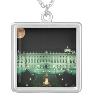 Spain, Madrid, Royal Palace and Plaza de Silver Plated Necklace