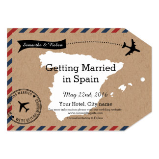 Spain Map Airmail Luggage Tag Save Dates 5x7 Paper Invitation Card
