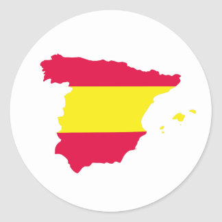Spain Map Flag Classic Round Sticker