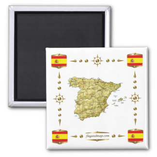 Spain Map + Flags Magnet