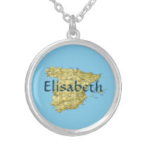 Spain Map   Name Necklace