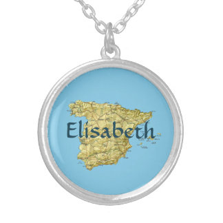 Spain Map + Name Necklace
