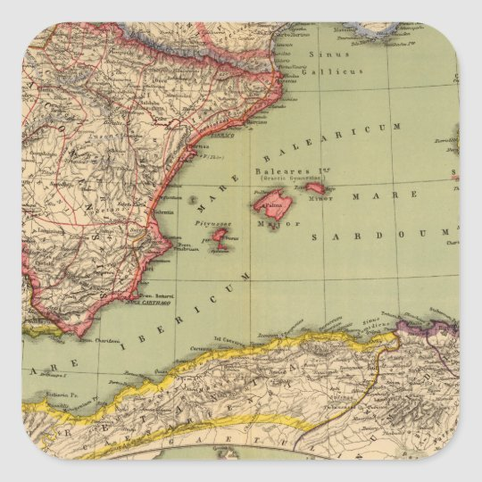 Spain, Mauritania and Africa Square Sticker