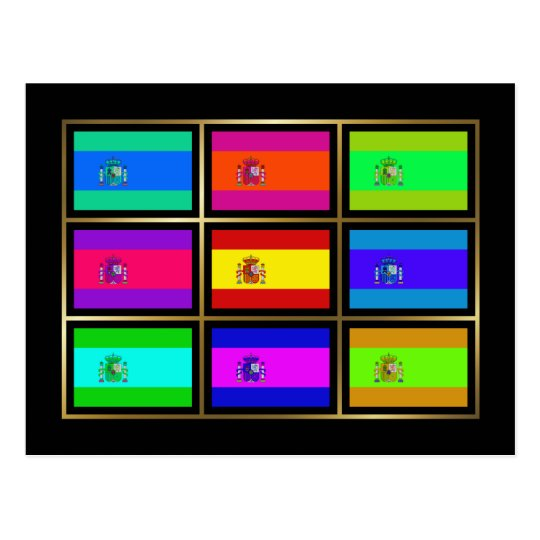 Spain Multihue Flags Postcard