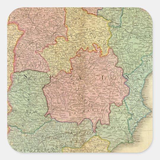 Spain, Portugal 4 Square Sticker