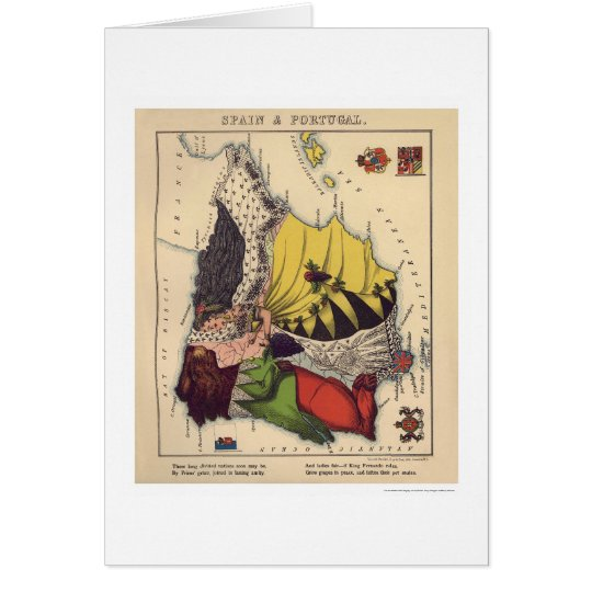 Spain & Portugal Caricature Map 1868 Card