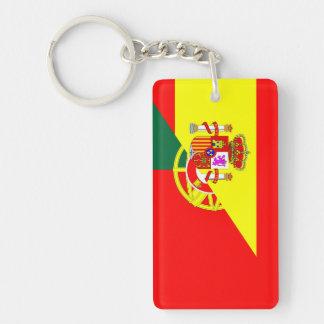 spain portugal neighbor countries half flag symbol keychain