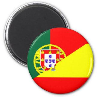 spain portugal neighbor countries half flag symbol magnet