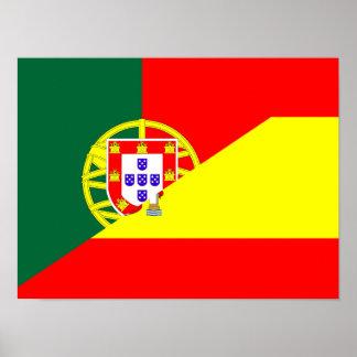 spain portugal neighbor countries half flag symbol poster