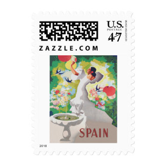 Spain Senorita Birds Flowers Fiesta Garden Postage