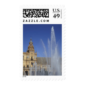 Spain, Sevilla, Andalucia Fountain and ornate Postage Stamp