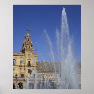 Spain, Sevilla, Andalucia Fountain and ornate Print