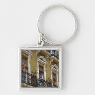 Spain, Sevilla, Andalucia Geraniums hang over Keychain