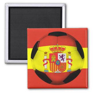 Spain Soccer Ball 2 Inch Square Magnet