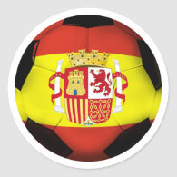 Spain Soccer Ball Classic Round Sticker