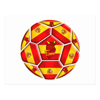 Spain soccer ball La Furia Roja Toro 2012 flags Postcard
