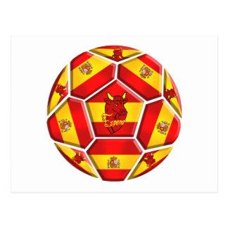 Spain soccer ball La Furia Roja Toro 2012 flags Postcard