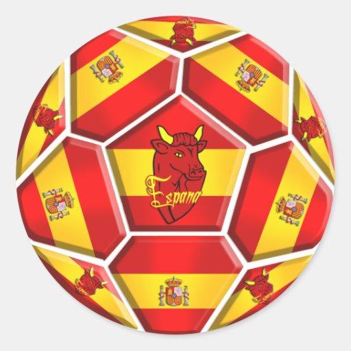 Spain soccer ball La Furia Roja Toro flags Classic Round Sticker