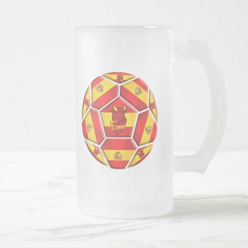 Spain soccer ball La Furia Roja Toro flags 16 Oz Frosted Glass Beer Mug