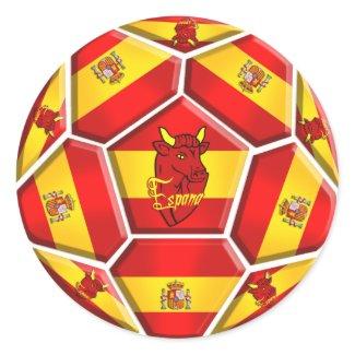 Spain soccer ball La Furia Roja Toro flags sticker