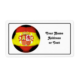 Spain Soccer Ball Personalized Shipping Label