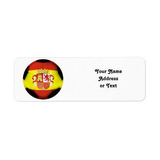 Spain Soccer Ball Return Address Labels