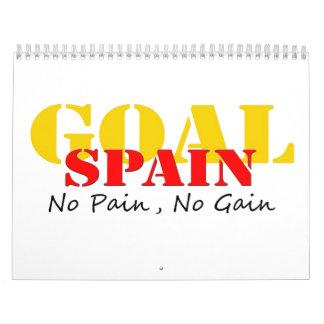 Spain Soccer Goal No Pain No Gain Wall Calendars