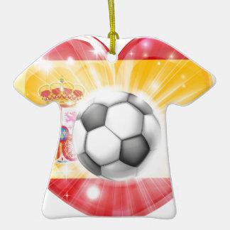 Spain soccer heart flag christmas tree ornaments