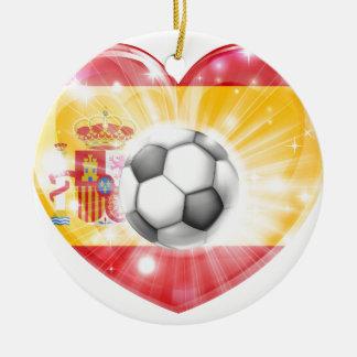 Spain soccer heart flag ornaments