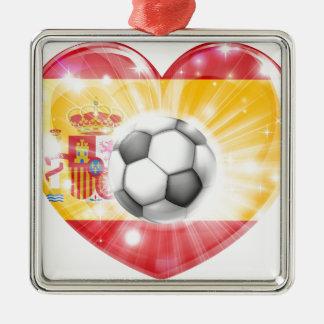 Spain soccer heart flag christmas ornaments