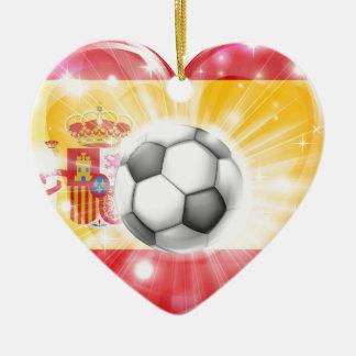 Spain soccer heart flag christmas tree ornament