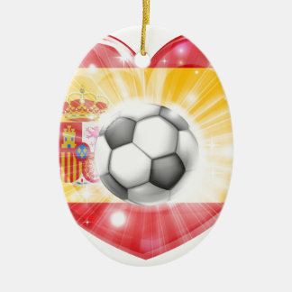 Spain soccer heart flag christmas ornament