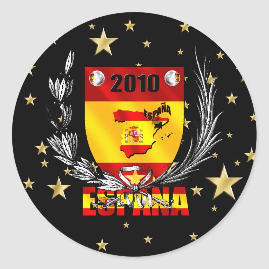 Spain Soccer Stars Shield Classic Round Sticker