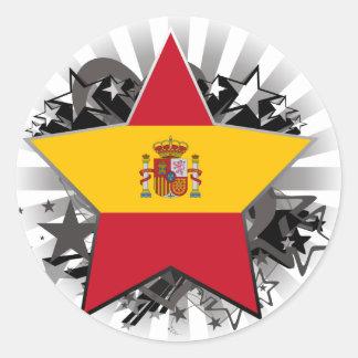 Spain Star Round Sticker