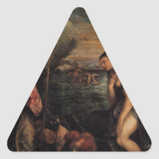 Spain Succouring Religion by Titian Triangle Sticker