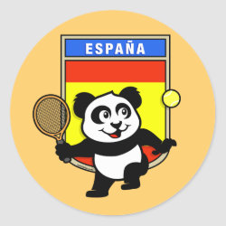 Round Sticker with Spanish Tennis Panda design